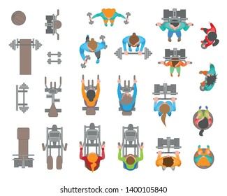 Vector set. People and fitness equipment. Top view. Bodybuilders. Training apparatus. View from above.