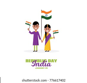 vector set of people in a flat style, the Indian family celebrates the day of the republic. vector graphics for the national holiday and the day of the Republic of India on January 26.