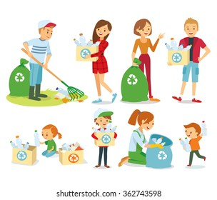 vector set of people gathering garbage and plastic waste for recycling
