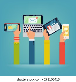 Vector set of people hands holding mobile devices. People using their phones, tablets and laptops with different applications running