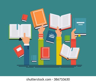 Vector set of people hands holding books. People reading books abstract concept layout. Ideal for book, reading themed banners, posters and flyers