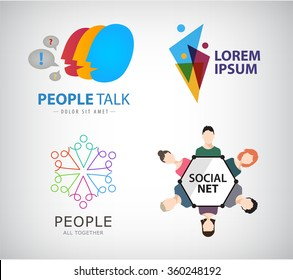 Vector set of people, human, social net, teamwork logos, icons.