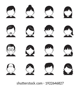 Vector set of people icons in black and white.
