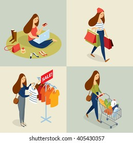 Vector set of  people in the mall shopping, flat design, sales
