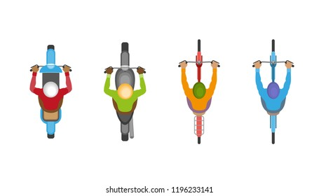 Vector set. People on motorcycles and bicycles on the road. Top view.