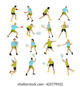 Vector set of people playing tennis, ping-pong and badminton. Professional tennis players on the tennis court. Illustration isolated on white background.