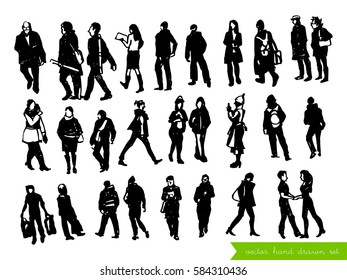 Vector set of people silhouettes isolated on the white background. Hand drawn collection. People on the street.
