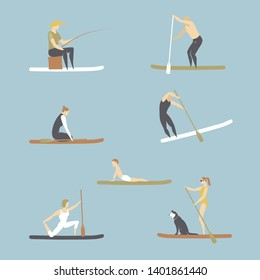 Vector set with people standing on sup boards.