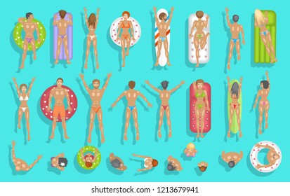 Vector set. People swim on inflatable circles, inflatable mattresses, surfboards. Top view. Summer time. Men and women swim in the ocean, sea, river, lake, water. View from above.