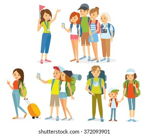 vector set of people traveling