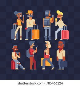 Vector set of people traveling. Pixel art. Waiting at the airport. Tourists characters. People traveling with suitcases. Woman and man holding phone ready for vacation travel at the airport.