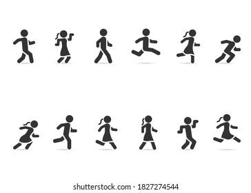 Vector set of people walking, running, jumping.