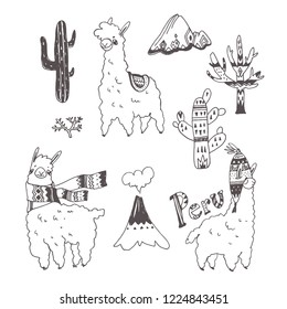 Vector set of Peru doodle symbols. Ornamental hand drawn illustration of cute lamas, plants, mountain and volcano isolated on white. South American nature elements in sketch style