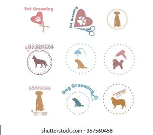 Vector set pet grooming, dog grooming labels, badges, icons. Dog shower vector set. Dog cleaning stamp set. Pet or dog care services color logo.