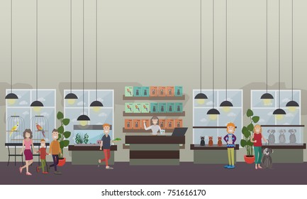 Vector set of pet shop flat style design elements. Pet store interior with tropical parrots in cages, domestic animals, pet products, saleswoman selling kitten, puppy and lizard.