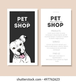 Vector set of pet shop flyers. Dog portrait isolated on black square text template. White informational list. Use for pet clinic, store, food market, veterinary pharmacy, advertising, sale, discount