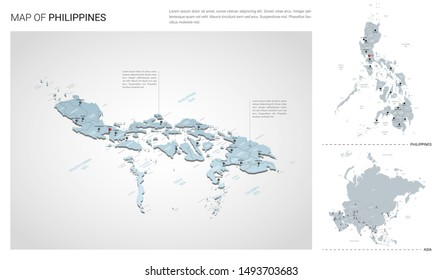 Vector set of Philippines country.  Isometric 3d map, Philippines map, Asia map - with region, state names and city names.