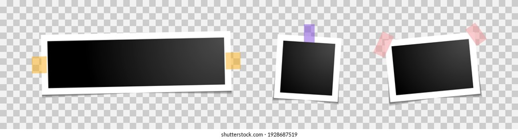 vector set of photo frames icons on background