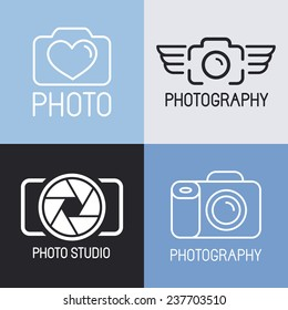 Vector set of photography and camera logos and signs - line icons set