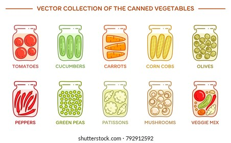 Vector set of the pickled vegetables. Icons of canned veggies in the glass jars on a white background. Preserved tomatoes, carrots, corns, olives, mushrooms and other nutrition. Trendy simple style.