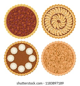 vector set of pie flat icons isolated on white background. homemade apple, crumble apple, pecan and pumpkin pies.