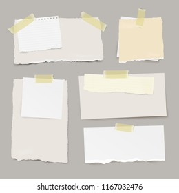 Vector set of pieces ripped note papers with different size and color, with sticky yellow tape.