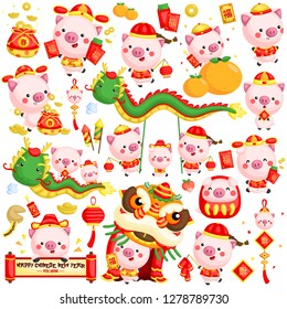 A vector set of pigs in Chinese new year costume and items