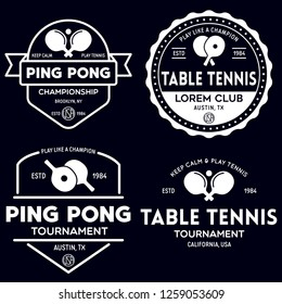 vector set of ping pong logos, emblems and design elements. table tennis logotype templates and badges. Vintage vector illustration.
