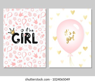 Vector set of pink baby shower cards for girls. It's a girl card. Vector invitation with cute pattern, balloon. Baby arrival and shower