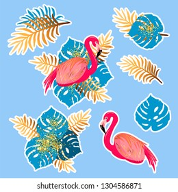 Vector set with pink flamingo and tropical leaves. Exotic leaves and flamingo as patch, sticker, stick cake toppers. Props for birthday, flamigo and tropical party.