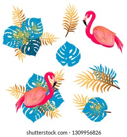 Vector set with pink flamingo and tropical leaves. Design elements for birthday, flamigo and tropical party, poster, banner, party props.
