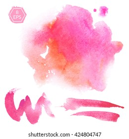 Vector. Set of pink and orange watercolor blots isolated on white background. Watercolor blots for your design, logo, emblem, banner. Set of vector beautiful watercolor blots.