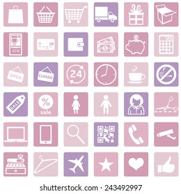 Vector Set of Pink Shopping Icons.