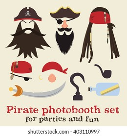 Vector set of pirate elements. Pirate photo booth props and scrapbooking collection. Pirate dreadlocks, beards, mustaches, eyebrows, hats, bandanas, noses, eye patches, hook, sword, pipe, save bottle.
