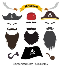 Vector set of pirate elements. Pirate photo booth props and scrapbooking collection, beards, mustaches, eyebrows, hats, bandanas, hook, sword, pipe. Vector illustration