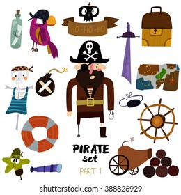 Vector set of pirate items:  pirate,map, chest, parrot, skeleton, starand sword.Colorful cartoon collection - Part 1 -stock vector
