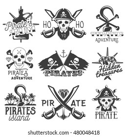 Vector set of pirates logo, emblems, badges, labels or banners. Isolated vintage style illustrations, monochrome flags with skulls, swords, rum, hook and treasure