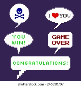 Vector Set of Pixel Bubbles. Skull with Crossbones. I love you. Game Over. You Win. Congratulations.