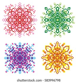Pixel Mandala Images Stock Photos Vectors Shutterstock