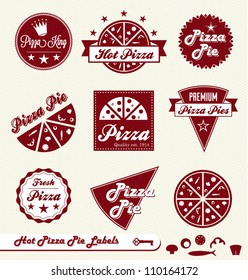 Vector Set: Pizza Pie Labels and Badges with Toppings Elements