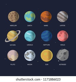 Vector set of planets and satellites