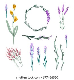 Vector set of plant illustrations. Flowers and twigs, elements for logos, posters and postcards. All the details are puzzle out, can be placed on any background.