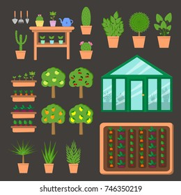 Vector set of plants and scenes. Greenhouse, beds, pots and shelves with plants. Garden.