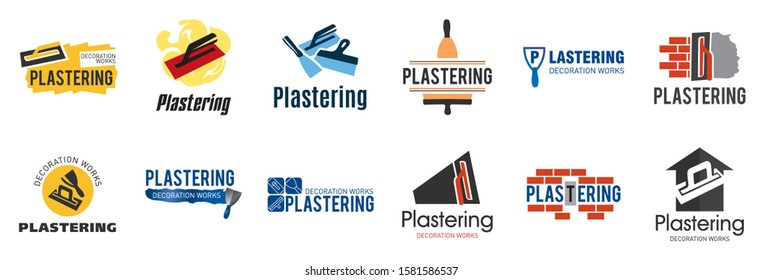 Vector set of plastering finishing company logos