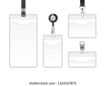 Vector set of plastic badges sealed bag on lanyards, holders with metal clips, ID cards for presentation or conference visitors, press, media, office employees isolated on white background