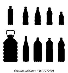 Vector Set of Plastic Bottle Silhouette on White Background