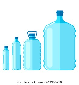 Vector set of plastic bottles with water, isolated on white background.