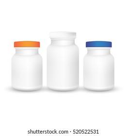 Vector set of plastic packaging bottles with cap, vitamins, pills or capsules. 3d