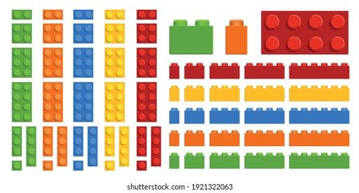 Vector set. Plastic toy bricks. Top view.
