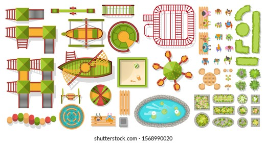 Vector set. Playground. Top view. Playgorund element for kids set. Slide and seasaw, swing and rocket. Equipment for kindergarten. View from above.